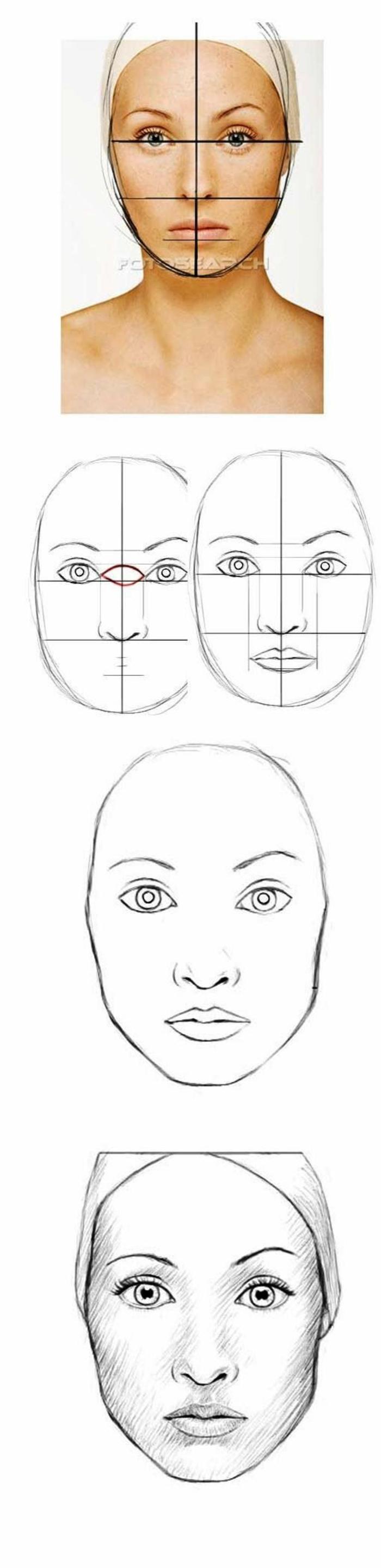 Disegni di donne bellissime, come disegnare un ritratto, tutorial con schema