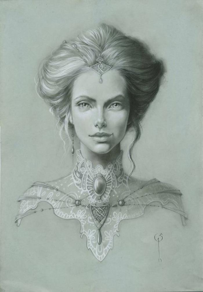 Disegni di donne bellissime, disegno a matita, ritratto di una donna