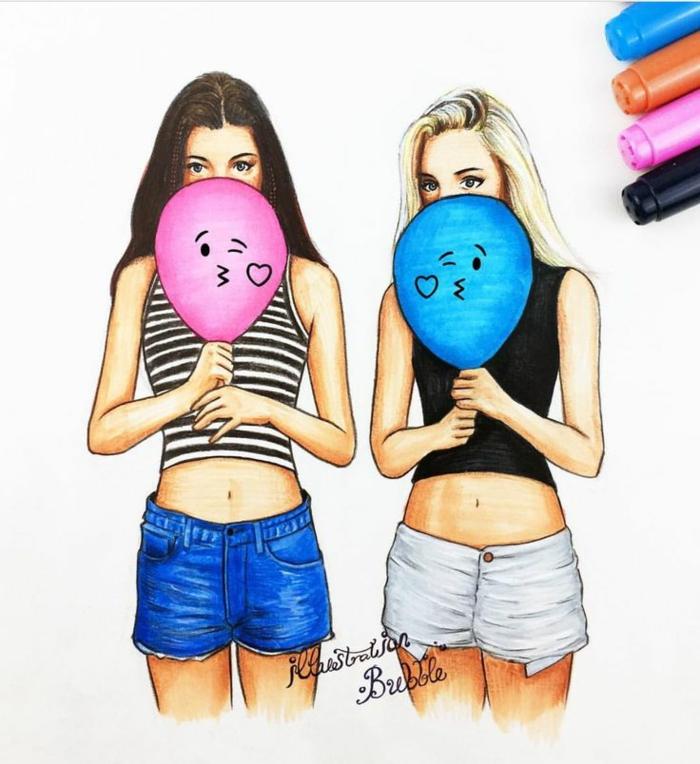Foto di ragazze tumblr, due ragazze a matita, palloncini colorati