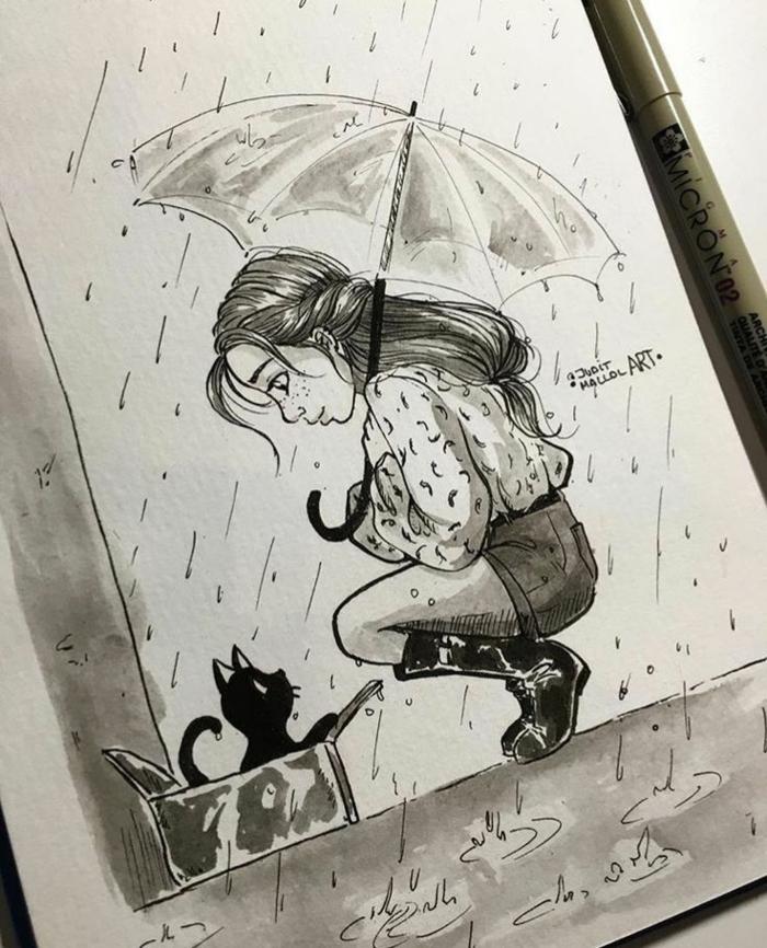 Disegno ragazza, ragazza con ombrello, gattino in scatola