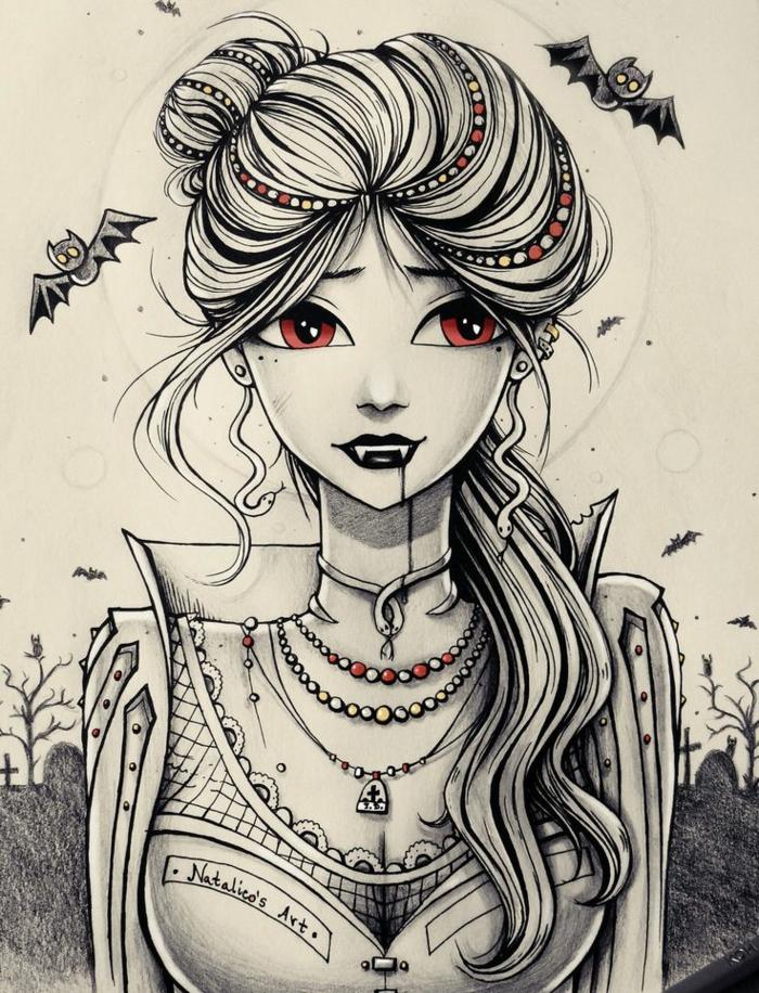 Foto di ragazze tumblr, ragazza vampira, disegno di una vampira