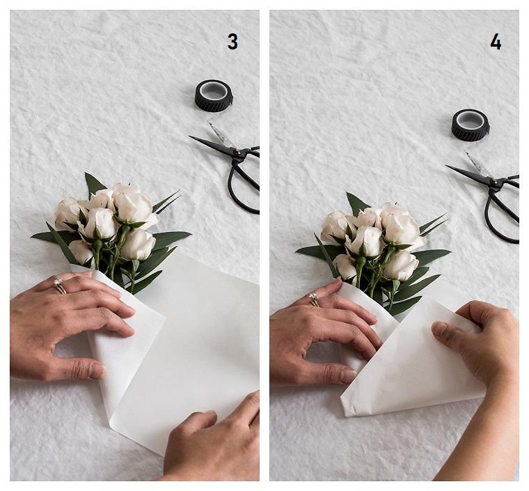 Idee regalo mamma, come fare un bouquet, fiori con petali bianchi