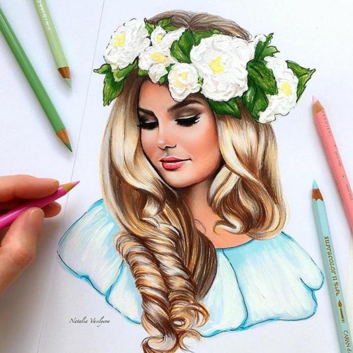 Come disegnare bene una persona, ritratto di una donna, donna con capelli biondi