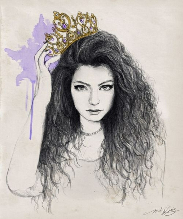 Capelli lunghi ricci, come disegnare bene una persona, ragazza con corona