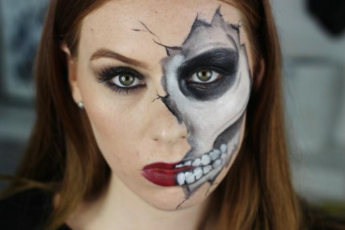 Ragazza con viso truccato, costumi facili per halloween, trucco scheletro metà viso