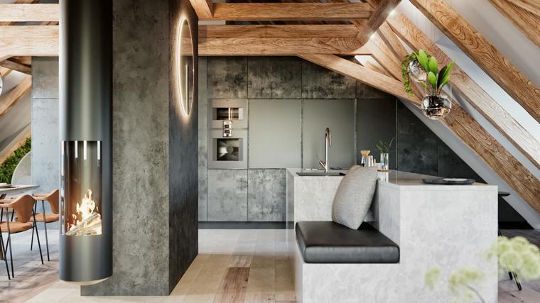 Mobili per mansarde, cucina con isola centrale, piccolo divano sull'isola