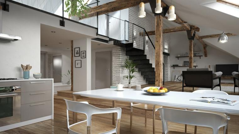 Open space con scale interne, arredare mansarda, cucina con tavolo da pranzo