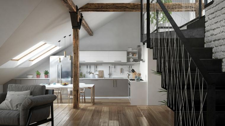 Idea per cucina in mansarda, open space con scale, soggiorno con poltrone