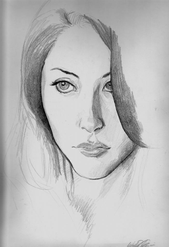 Come disegnare una ragazza, ritratto di donna, disegno a matita