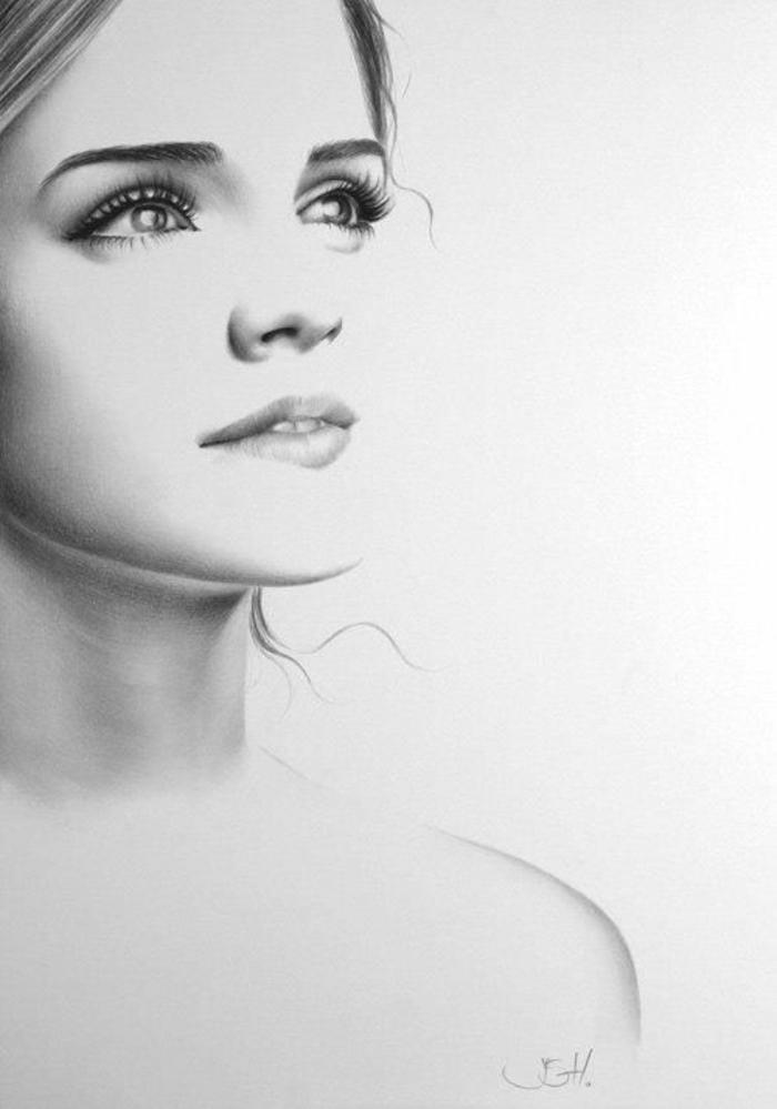 Come disegnare una persona, ritratto di donna, disegno a matita