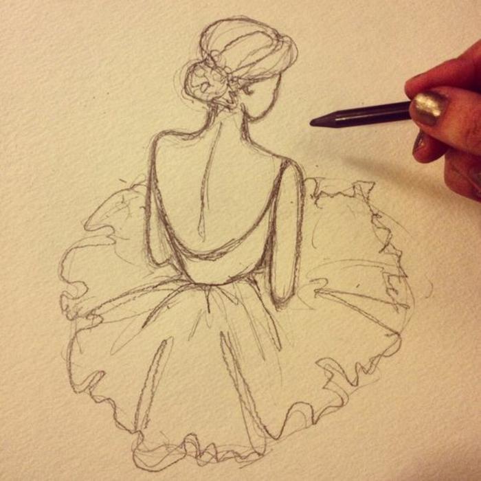 Disegno a matita, disegno di una ballerina, come disegnare una persona