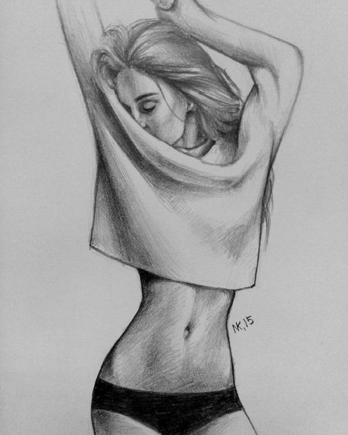 Disegni di ragazze a matita, felpa corta, ragazza con pancia piatta