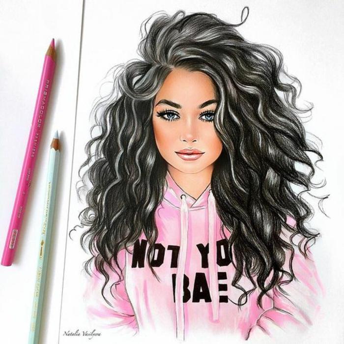 Come disegnare bene una persona, ragazza con capelli ricci, disegno a matita