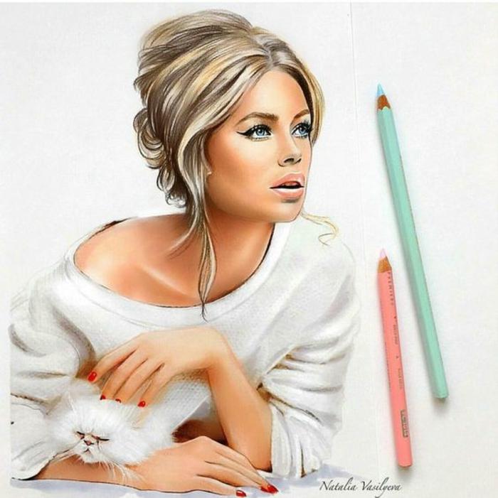 Disegno ragazza, disegno con matite colorate, donna con capelli legati