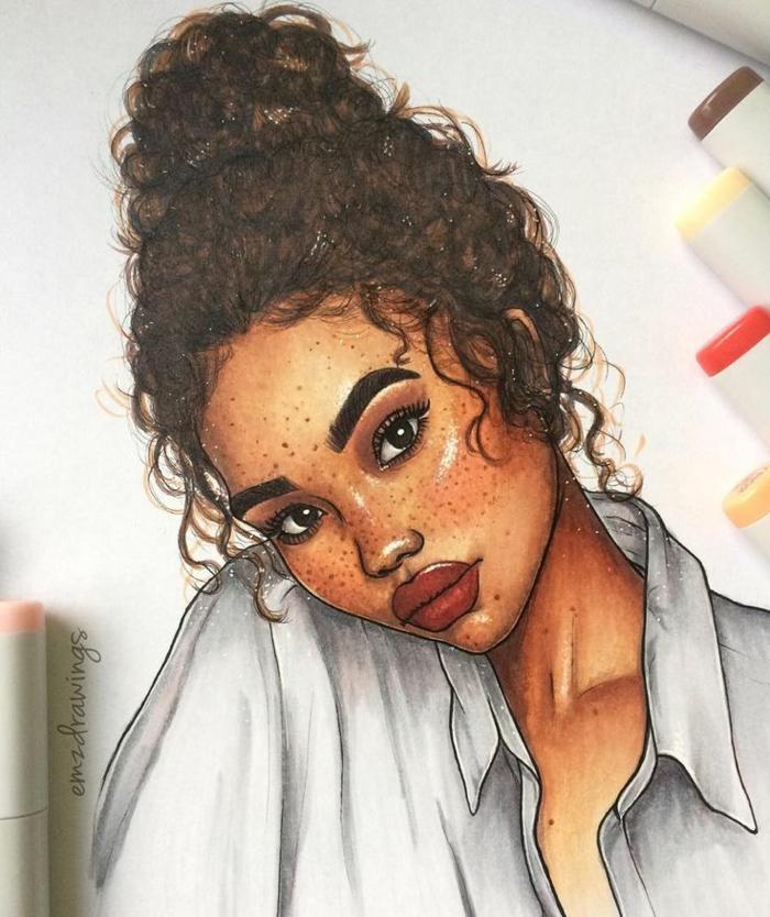 Donna con capelli ricci, disegni di donne bellissime, acconciatura capelli legati