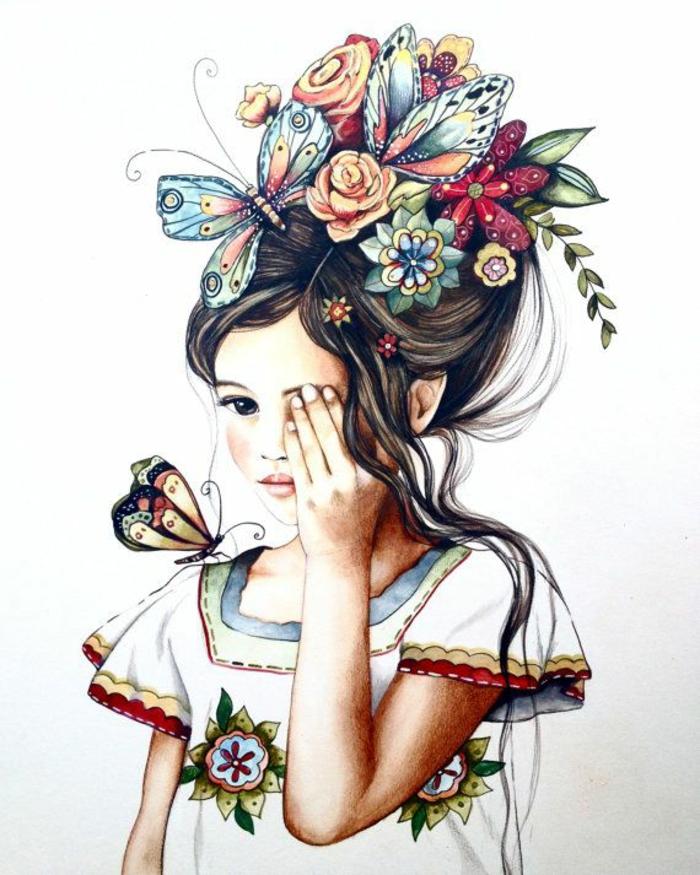 Come disegnare una persona, disegno di una bambina, disegno colorato di farfalle