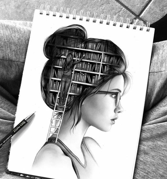 Come disegnare una persona, disegno di una ragazza, disegno libreria con libri