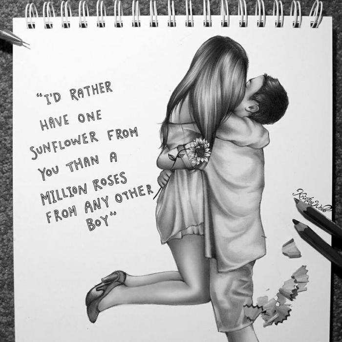 Come disegnare una persona, ragazzo e ragazza abbracciati, scritta a matita