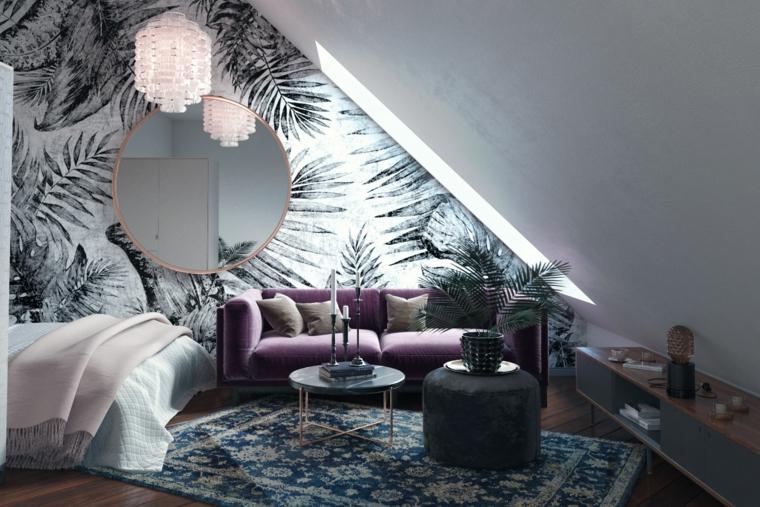 Pareti con carta da parati, decorazioni con piante, camera da letto, mobili per mansarde