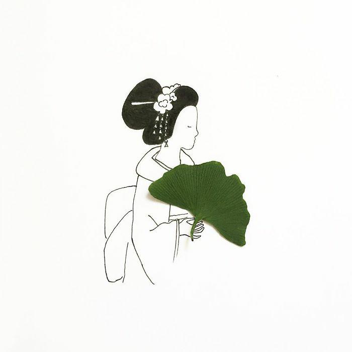 Foglio di colore bianco, disegno a matita, disegni di donne bellissime, donna giapponese