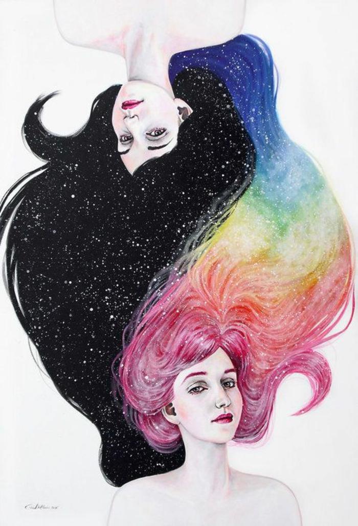 Disegno due donne, ragazza capelli neri, disegni di ragazze a matita