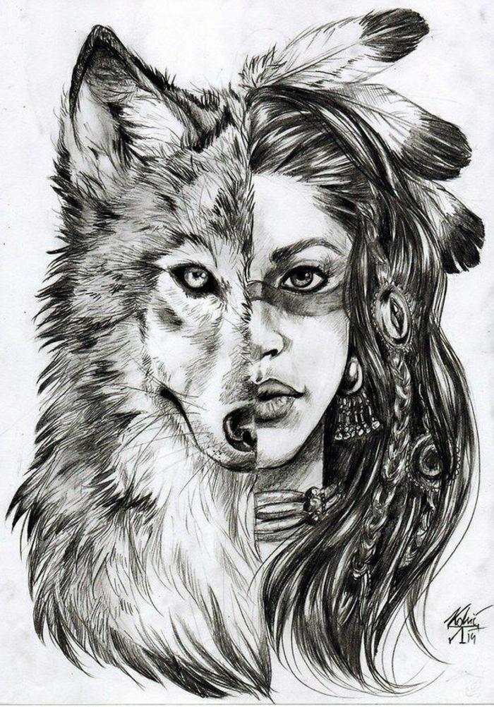 Come disegnare una ragazza, ritratto di donna e lupo, metà lupo meta donna