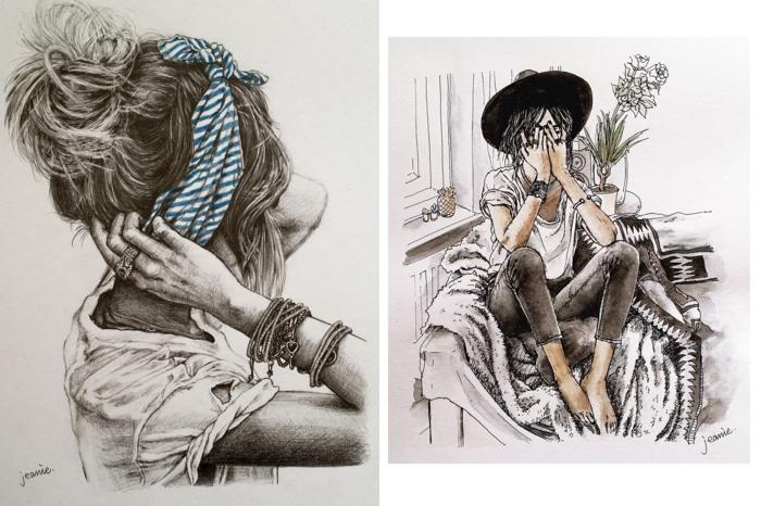 Abbozzo di un disegno, disegno a matita, come disegnare una ragazza
