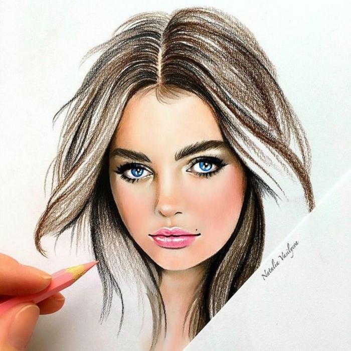 Come disegnare una persona, ritratto di una ragazza, ritratto a matita