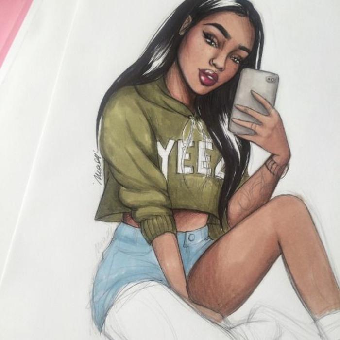 Disegni tumblr facili da copiare, disegno con matite colorate, ragazza con telefono