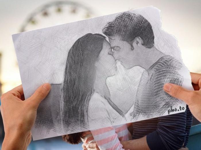Come disegnare una ragazza, foglio con disegno a matita, disegno di una coppia