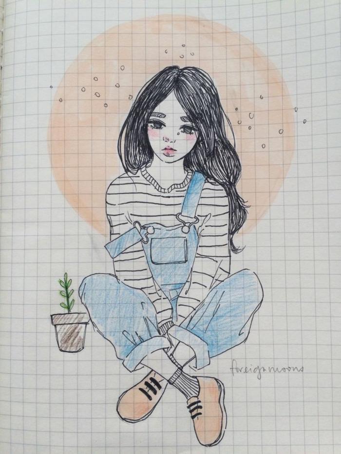 Foglio a quadretti piccoli, disegno ragazza, abbozzo di piantina in vaso