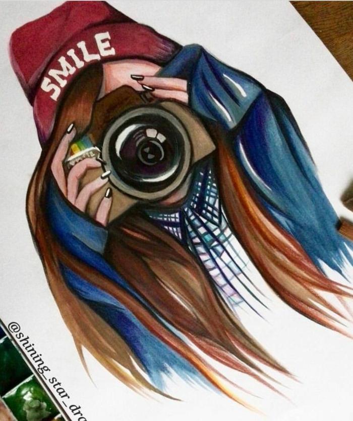 Schizzo di una ragazza, disegno macchina fotografica, come disegnare una persona