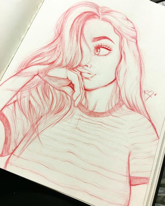 Disegno con matita rossa, ragazza con capelli lunghi, come disegnare bene una persona