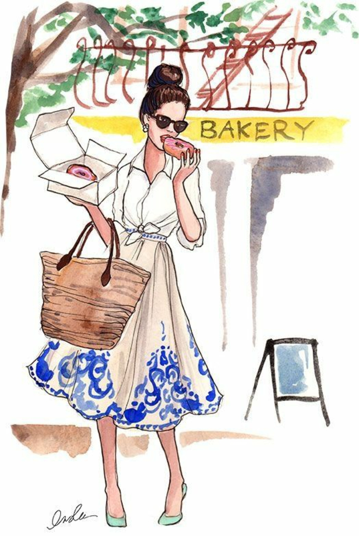 Disegni di ragazze a matita, disegno di donna, donna che mangia le ciambelle