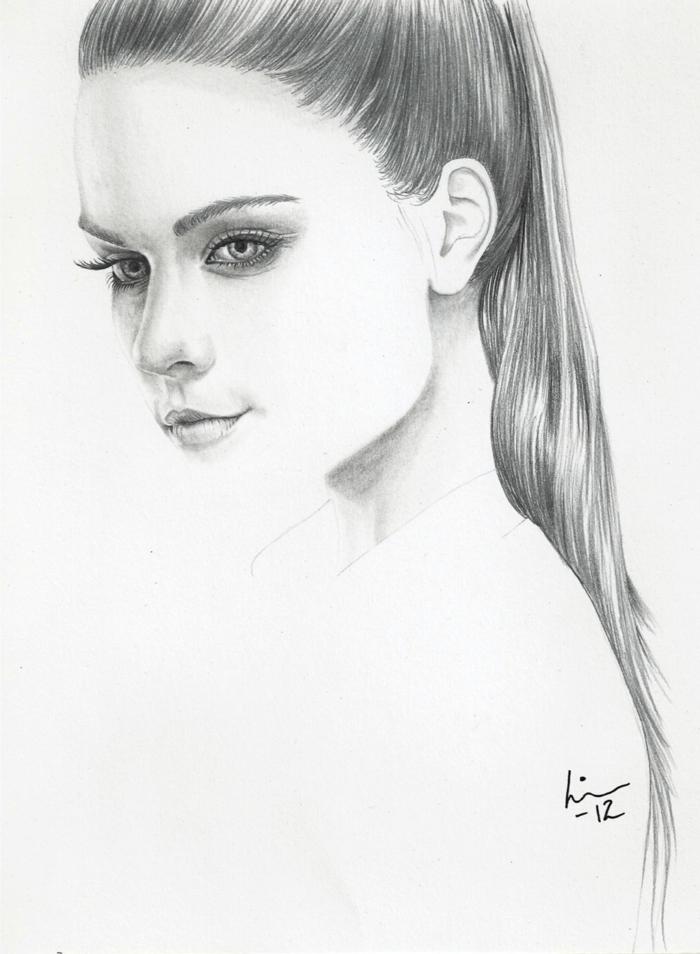 Ritratto a matita, foto di ragazze tumblr, viso di profilo