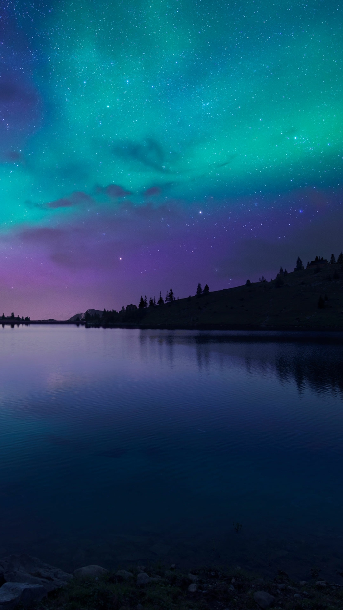 Sfondi telefono belli, paesaggio di un lago, cielo notturno con stelle