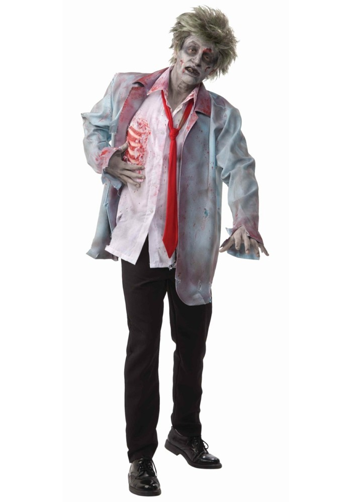 Vestiti di Halloween, uomo travestito da zombi, camicia bianca sporca di sangue