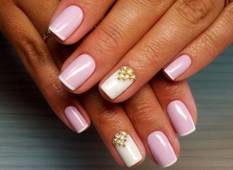 Idea per french manicure, unghie corte forma squadrata, unghie bellissime