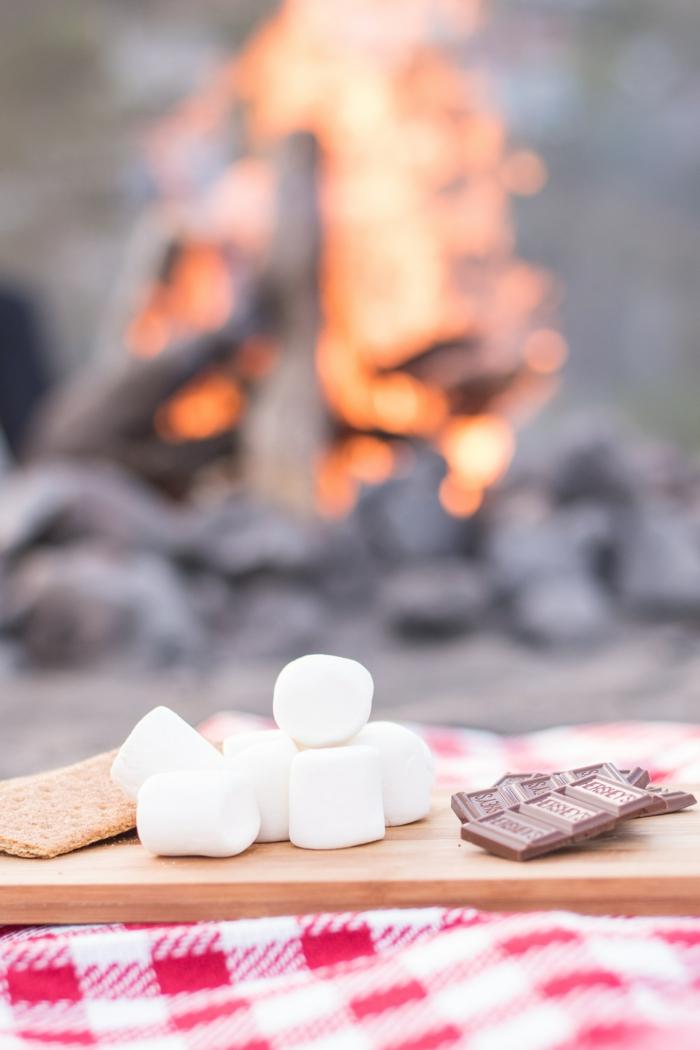 Pezzettini di cioccolato, immagini da mettere come sfondo, fuoco con pezzi di legno