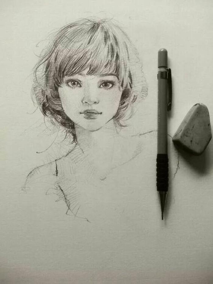 Ritratto di una donna, disegno a matita, come disegnare bene una persona