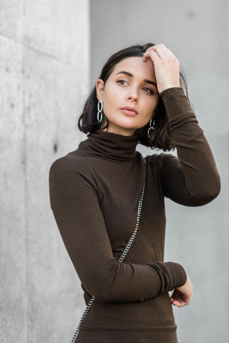 Tendenze capelli 2019, ragazza con taglio a caschetto, capelli di colore castano