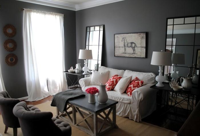 Idee per interni casa, soggiorno con mobili, pareti di colore grigio, tavolino di legno