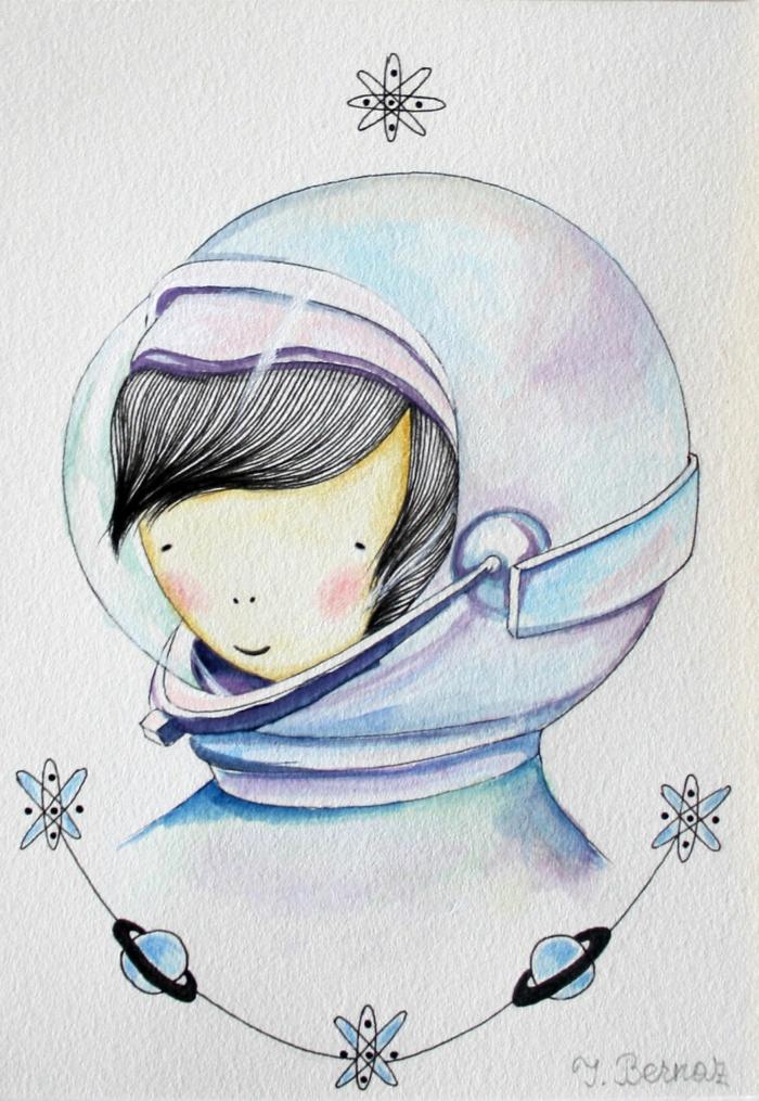 Disegni tumblr facili da copiare, ragazza con costume di astronauta