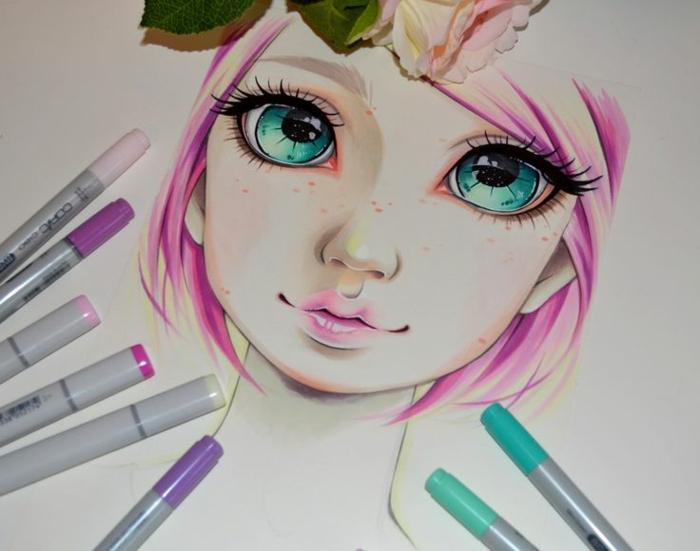 Foto di ragazze tumblr, disegno con pennarelli colorati, ritratto di ragazza