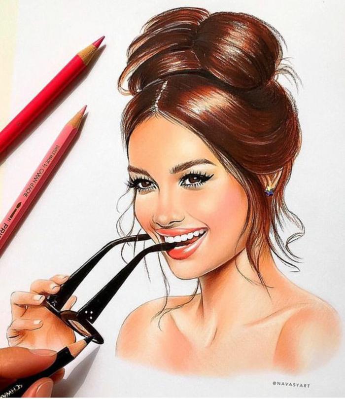 Disegni di donne bellissime, ritratto di una donna, disegno con matite colorate