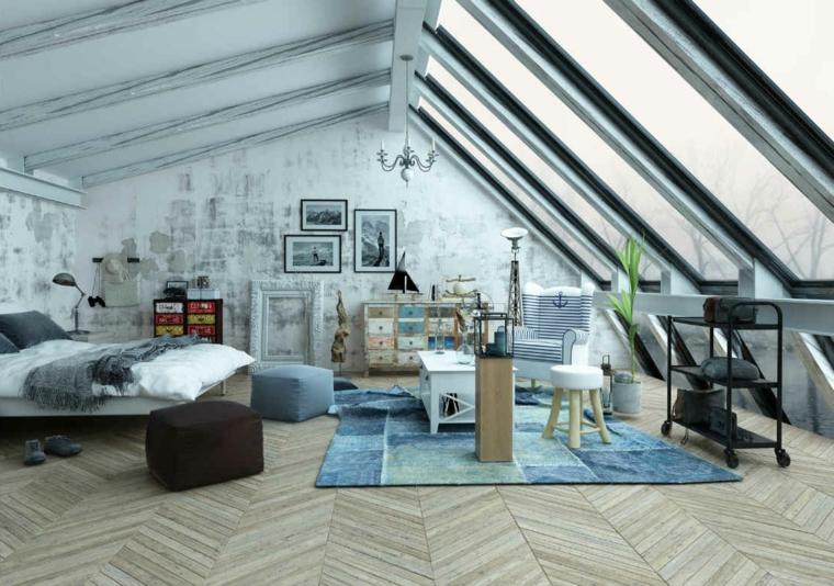Arredamento per mansarde, camera da letto, soffitto con vetrate, pavimento in legno chiaro