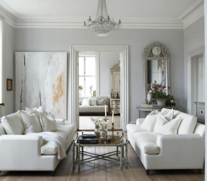 Colori pareti soggiorno, pareti di colore grigio chiaro, due divani a tre posti