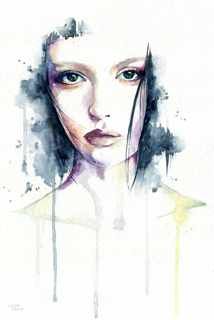 Ritratto di una donna, disegno con acquarelli, disegni facili da riprodurre