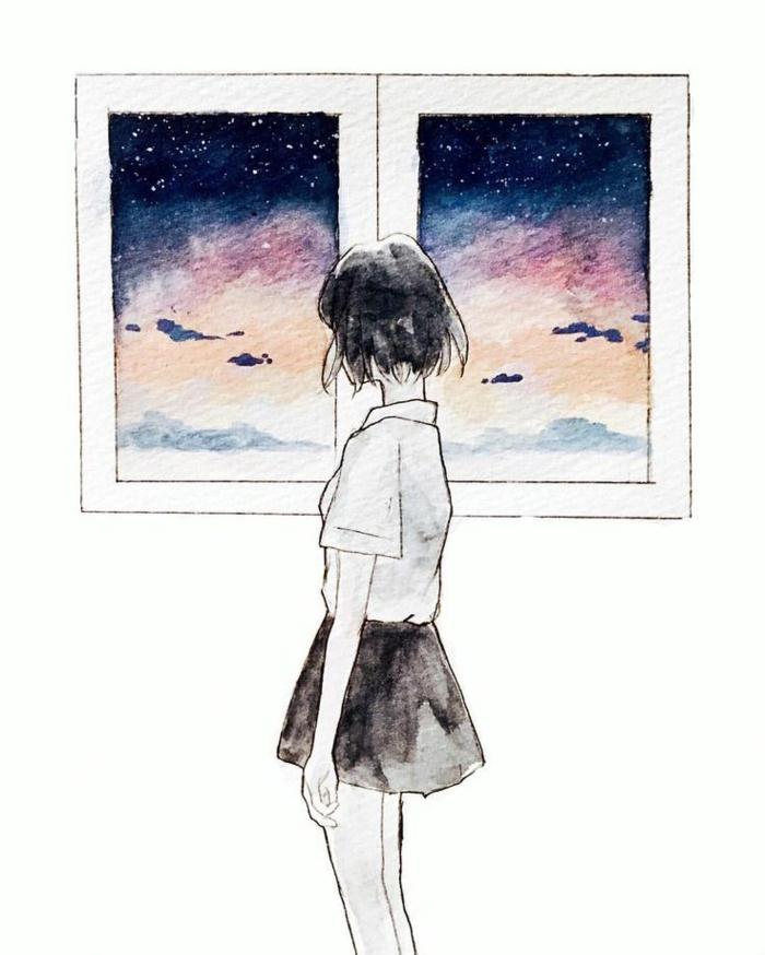 Come disegnare bene una persona, ragazza sulla finestra, disegno cielo notturno