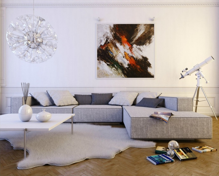 Colori per pareti soggiorno, soggiorno con divano, divano angolare di colore grigio